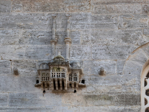 Bird houses on the walls of the historic Great Valide Mosque in Uskudar.