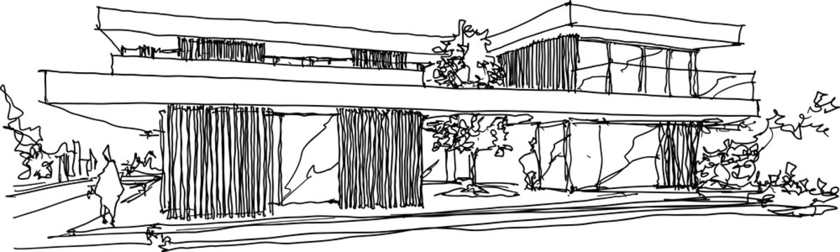 hand drawn architectural sketches of modern two story detached house with flat roof and people around