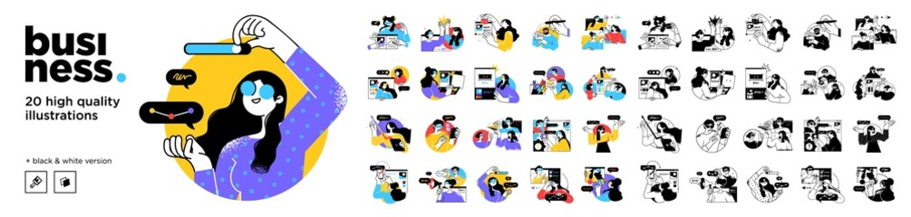 Fototapeta Business Concept illustrations. Mega set. Collection of scenes with men and women taking part in business activities. Vector illustration obraz