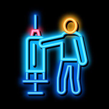 large syringe neon light sign vector. Glowing bright icon large syringe sign. transparent symbol illustration