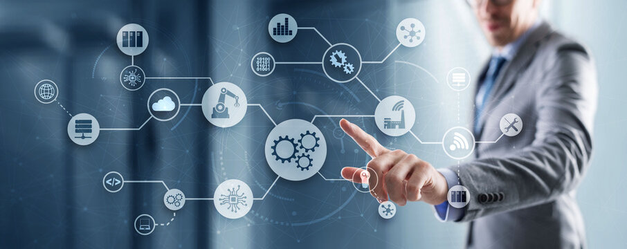 Process Technology Automation. Gear mechanism and circuit board on office and city background