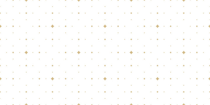Subtle golden vector seamless pattern with small diamond shapes, stars, rhombuses, dots. Simple wide geometric background. Abstract minimal white and gold texture. Luxury repeat design for decor, wrap