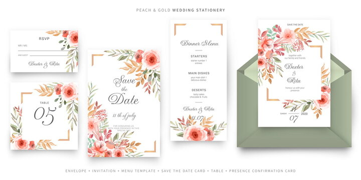 green and pink wedding invitation card template stationery set