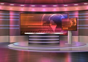 Fototapeta Breaking news television studio realistic vector interior. TV show, news broadcasting room with pedestal or podium, desk and big displays, screens with world globe. Modern media, journalism background obraz