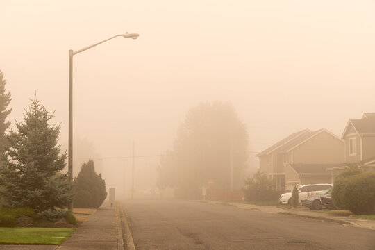 Residential Street with Haze and Smoky Sky From Forest Fires