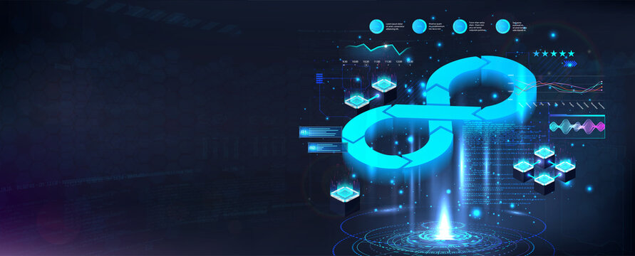 Futuristic DevOps process banner. Concept software development operations, programming, web development, design, interaction with each other. DevOps banner with hologram lifecycle infinity. Vector