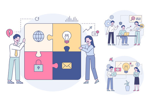 People solving huge puzzles with icons, people having a meeting and brainstorming. Outline flat design style minimal vector illustration set.