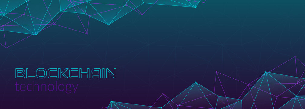 Blockchain technology concept, cryptocurrency. Working with tokens on the Internet, security. Futuristic polygonal background. Design banner template for web. Copyspace.
