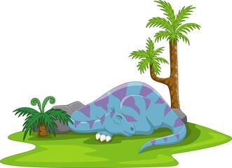 Obraz Cartoon funny blue dinosaur sleeping - fototapety do salonu