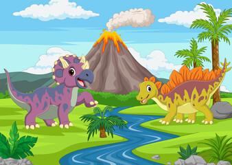 Obraz Cartoon funny dinosaurs in the jungle - fototapety do salonu