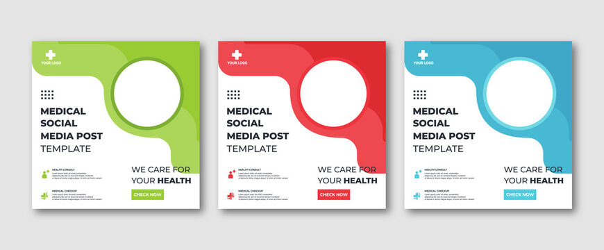 Editable Instagram post template modern background. Promotional web banner for medical healthcare post. editable social media background sale ads and discount promo