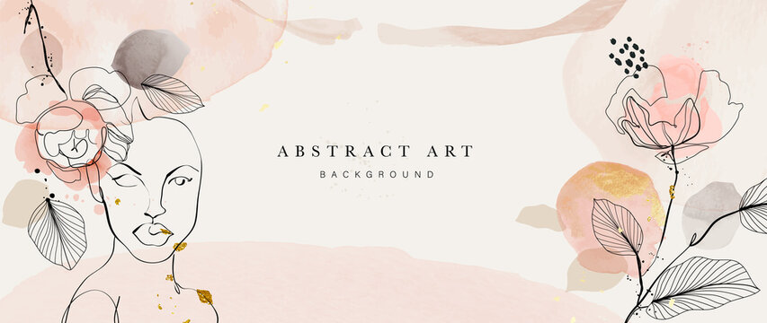 Abstract art botanical background vector . Luxury wallpaper design with women face, leaf, flower and tree  with earth tone watercolor and gold glitter. Minimal Design for text, packaging and prints.