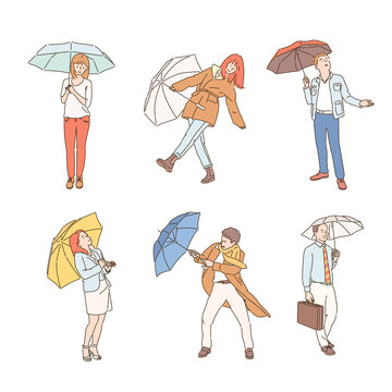 Collection of people characters with umbrellas on a rainy day. hand drawn style vector design illustrations.