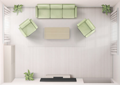 Living room interior top view with sofa, tv, armchairs and coffee table. Home render with television on wall, modern house apartment with furniture. Apartment design, Realistic 3d vector visualization