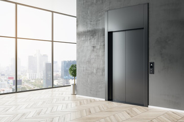 Obraz Stylish business center hall with black elevator, wooden parquet floor and city view from glass wall. 3D rendering. - fototapety do salonu