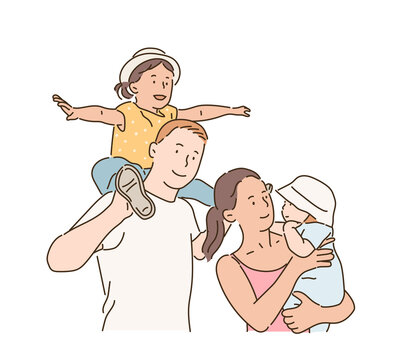 Affectionate family with cute children. hand drawn style vector design illustrations.