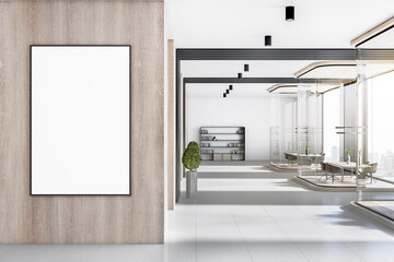 Contemporary corporate office interior with empty poster on concrete wooden wall, furniture and daylight. Mock up, 3D Rendering. - fototapety na wymiar