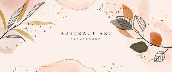 Obraz Abstract art gold tropical leaves background vector. Luxury wallpaper with watercolor, tropical leaf framed, palm leaf, flower,Vivid foliage, exotic green and gold brush glitter - fototapety do salonu