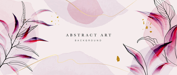 Fototapeta Abstract art gold tropical leaves background vector. Luxury wallpaper with watercolor, tropical leaf framed, palm leaf, flower,Vivid foliage, exotic green and gold brush glitter obraz