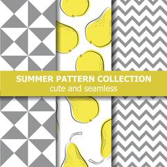 Fototapeta Cute summer pattern collection. Pears theme. Summer banner. obraz