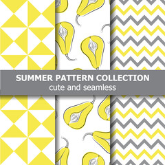Fototapeta Delicious summer pattern collection. Pears theme. Summer banner. obraz