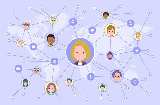 ソーシャルメディアで情報を発信している金髪ビジネス女性のセット