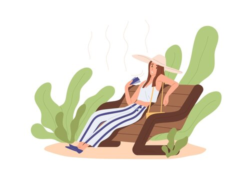 Heat and hot weather concept. Person sitting outdoors, feeling bad and tired because of high temperature on stuffy day. Woman overheating. Colored flat vector illustration isolated on white background