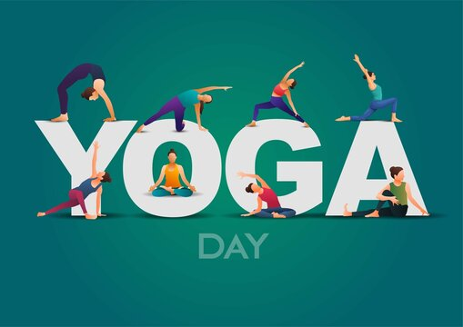 international yoga day. yoga body posture. group of Woman practicing yoga. vector illustration design