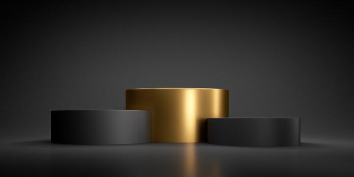 Abstract geometric black and golden winner podium - 3d illustration