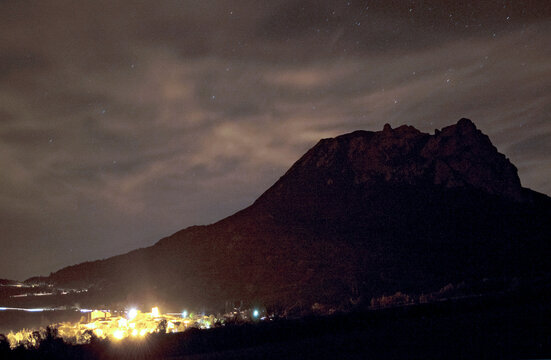 Magic mountain of Bugarach in the south of France, at night