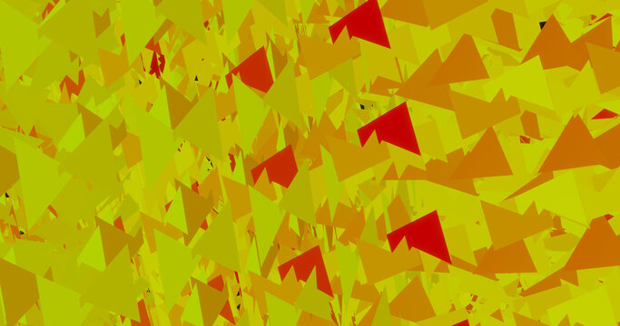 Render with an abstract background of yellow-red triangles