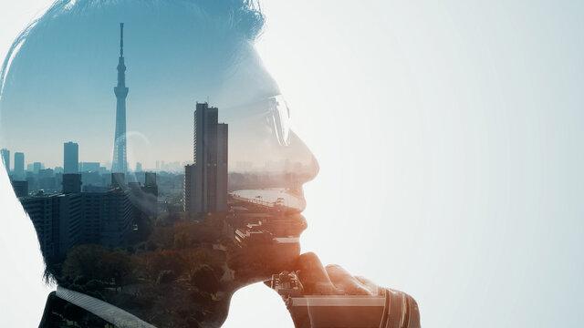 都市と考える日本人男子 ダブルエクスポージャー