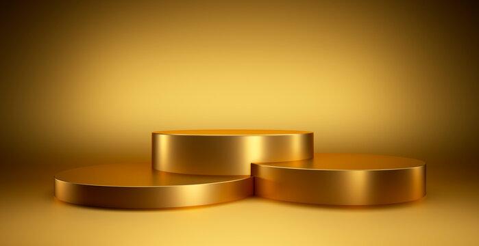 Abstract geometric golden winner podium - 3d illustration