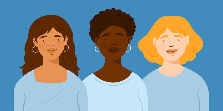 Female avatar profil, multicultural coworkers employee, women of different colors, group of women