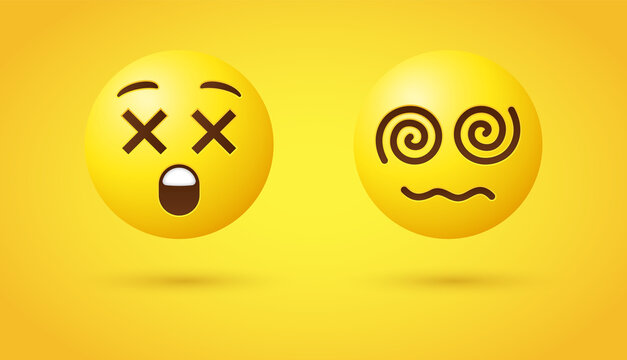 Dizzy Face Emoji with wavy mouth or yellow emoticon face with X eyes and open mouth, Face  with Spiral Cross Eyes