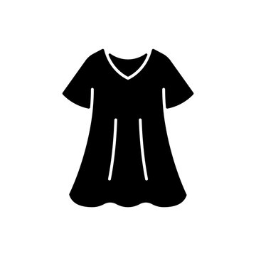Sporty dress black glyph icon. Elegant loungewear for women. Oversized trendy dress. Comfortable homewear and sleepwear. Silhouette symbol on white space. Vector isolated illustration
