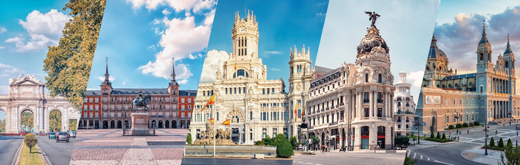 Madrid City, famous landmark collage - fototapety na wymiar