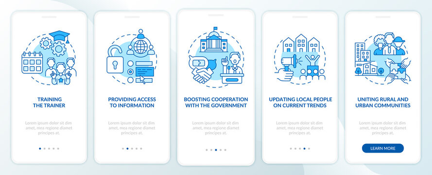 Society development onboarding mobile app page screen with concepts. Cooperation with government walkthrough 5 steps graphic instructions. UI, UX, GUI vector template with linear color illustrations