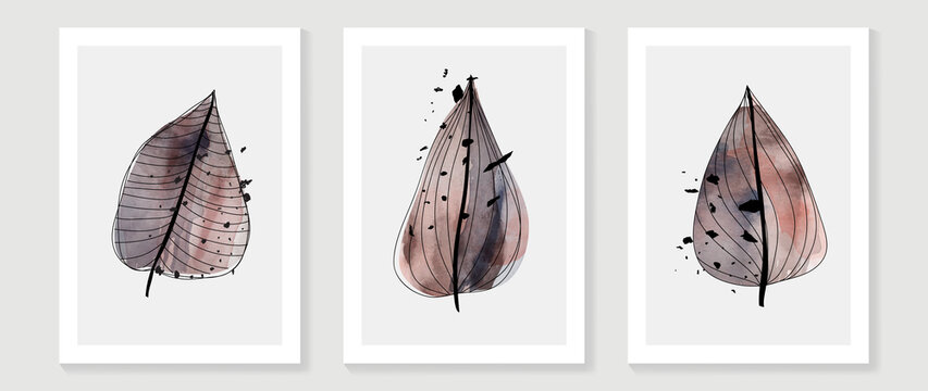Abstract art background vector. Luxury minimal style wall art with botanical leaves line art and watercolor. Vector background for banner, poster, cover, card, invitation and prints.