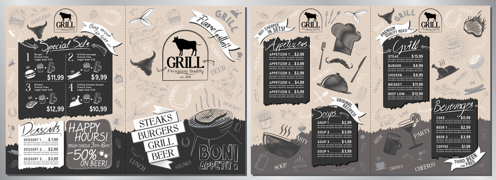 Steakhouse, grill menu card -A3 to A4 size (appetizers, grill, soups, drinks, sets)