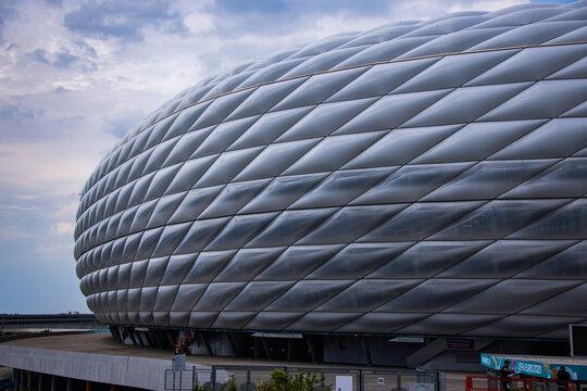 Famous Allianz Arena stadium in Munich - Home of famous soccer club FC Bayern Muenchen - MUNICH, GERMANY - JUNE 03, 2021 - MUNICH, GERMANY - JUNE 03, 2021
