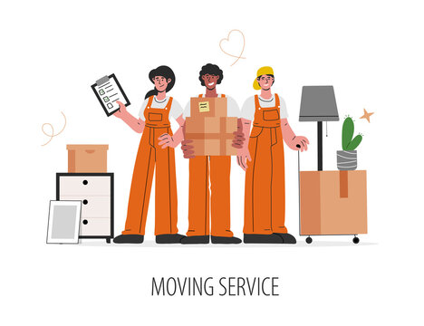 Group of caucasian,african-american people in uniform help to move.Male and female workers carry boxes and furniture.