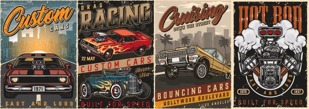 American custom cars vintage colorful posters