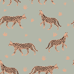 Leopard or cheetah exotic animal.  Cute cartoon character. Vector seamless pattern with wild cat  . Perfect for print, cards, fabric, textile. - fototapety na wymiar
