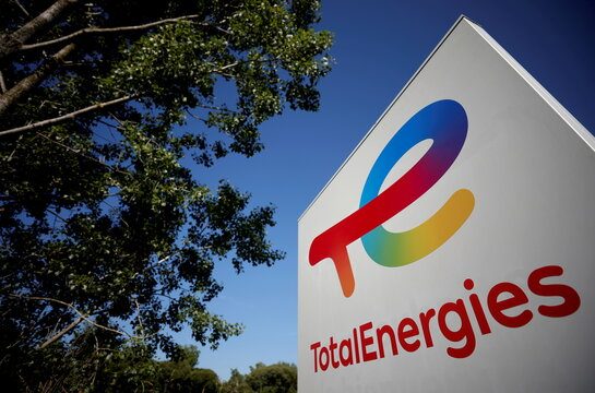 The logo of French oil and gas company TotalEnergies is pictured at a petrol station in Treillieres