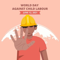 Obraz World day against child labour background with a child working in a construction field says no to child labor. Flat style vector illustration concept of anti child exploitation campaign. - fototapety do salonu