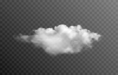 Fototapeta Vector cloud or smoke on an isolated transparent background. Cloud, smoke, fog, png. obraz