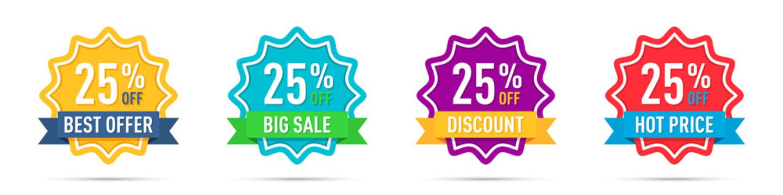 Set of different 25 off percentage promotion badges