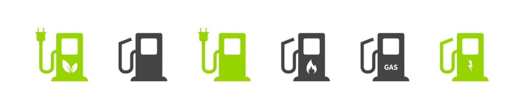Gas Charger station. Vector illustration. Gas and charging station icon set on white background. Eco battery.