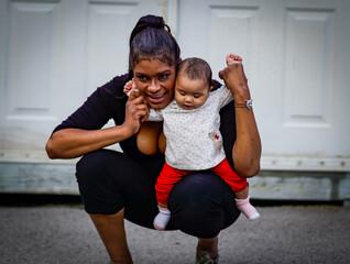 Fototapeta Full Length Of Mother And Daughter Outdoors obraz